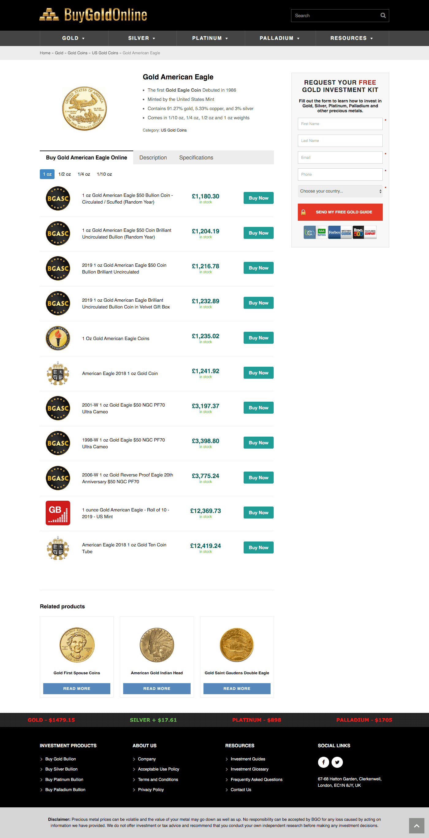 Buy Gold Online - Product