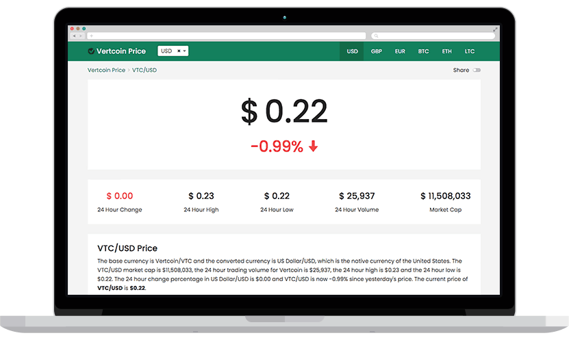 Vertcoin Price - Macbook