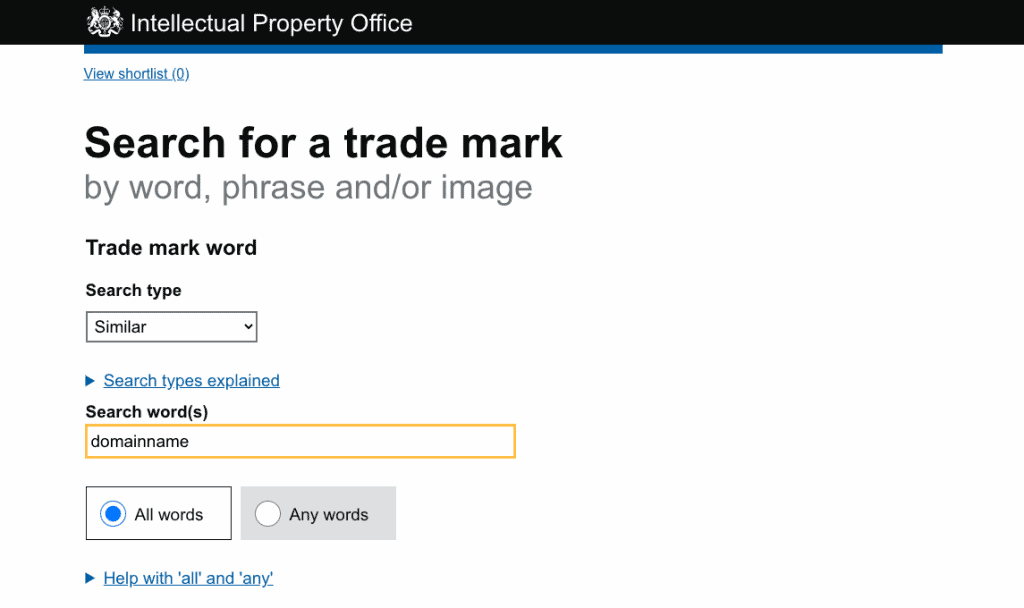 Search For A Trademark