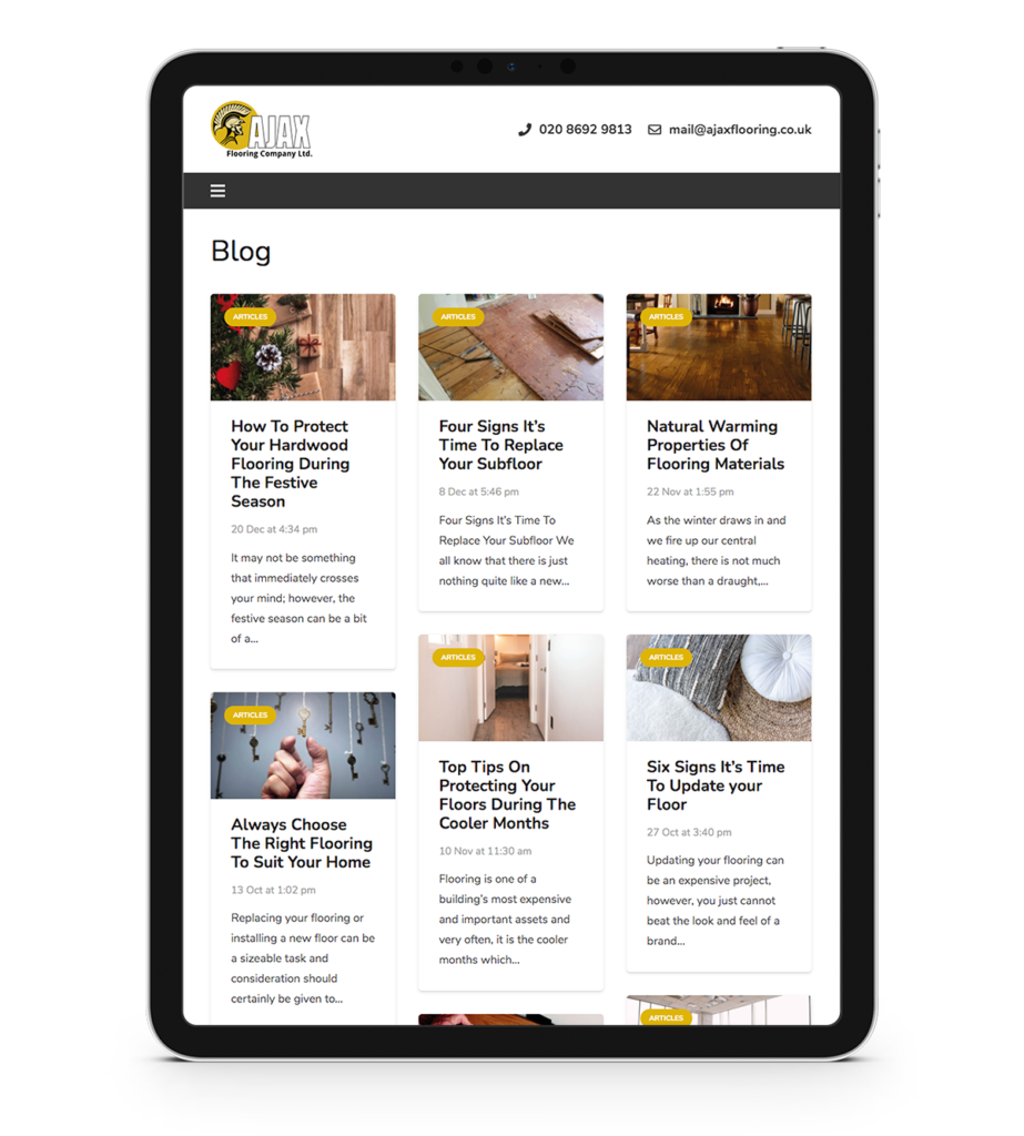 Ajax Flooring - iPad